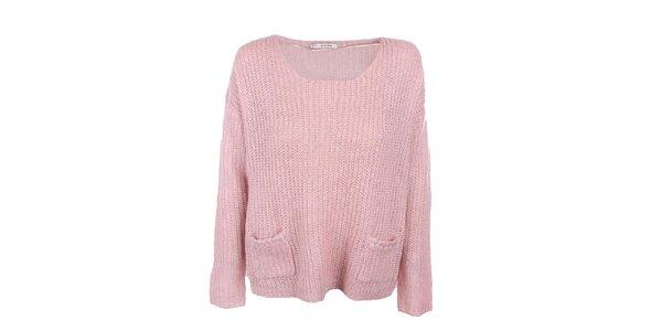 Dámský růžový svetr s kapsičkami Kaffe