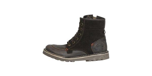 Dámské pevné hnědé kotníčkové boty Buggy