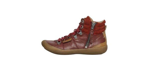 Dámské červenohnědé boty se zipem a šněrováním Buggy