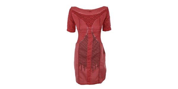 Dámské rudé šaty s flitry a břiše Angels Never Die