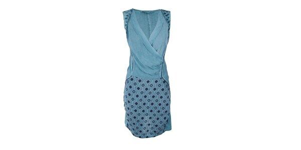 Dámské tyrkysové šaty se vzorovanou sukní Angels Never Die