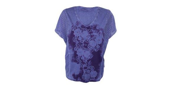 Dámské fialové tričko s květinami Angels Never Die