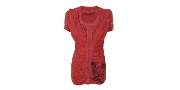 Dámské korálové nařasené tričko Angels Never Die