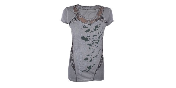 Dámské šedé tričko s průhlednými detaily Angels Never Die