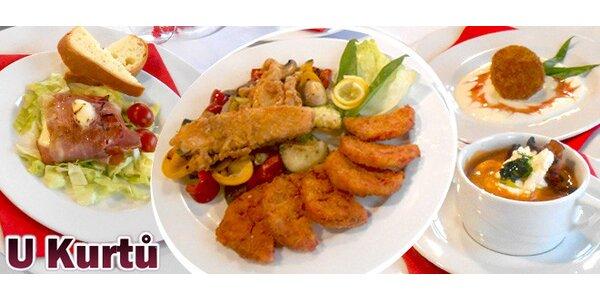 Čtyř chodové menu pro dva v restauraci U kurtů