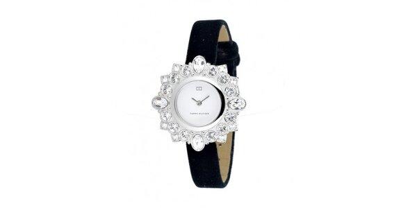 Dámské náramkové hodinky Tommy Hilfiger s černým sametovým řemínkem