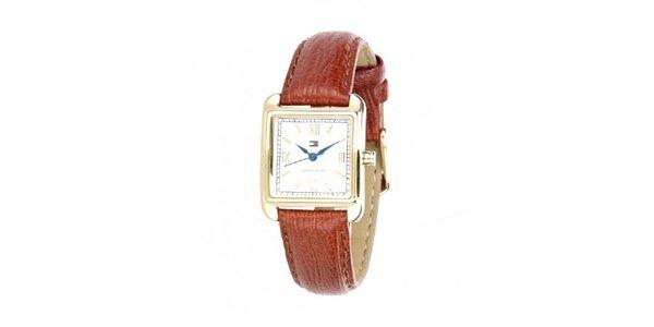 Dámské náramkové hodinky Tommy Hilfiger s hnědým řemínkem
