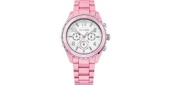 Dámské světle růžové hodinky Tommy Hilfiger s plastovým páskem