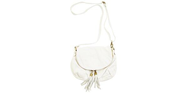 Dámská bílá kožená kabelka se střapci Marina Rossini