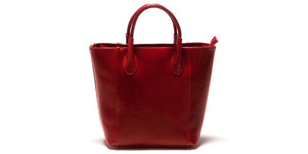 Dámská červená kožená kabelka Sonia Ricci