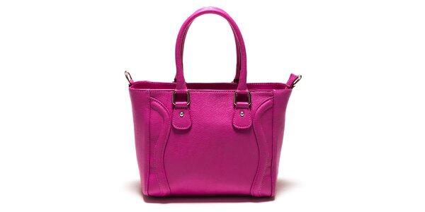 Dámská fuchsiová kožená kabelka s vlnkami Sonia Ricci