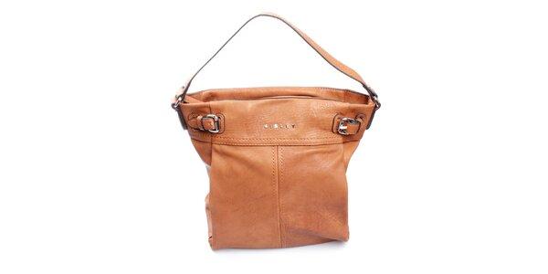 Dámská karamelová kabelka s přezkami Sisley