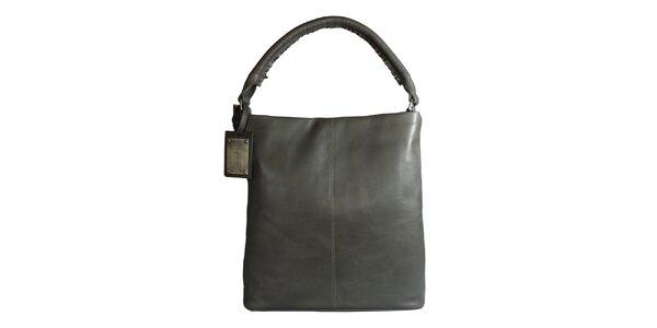 Dámská šedá kožená kabelka Forbes&Lewis se semišovou podšívkou