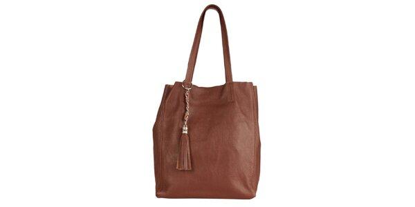 Dámská hnědá kožená kabelka se střapcem Made in Italia