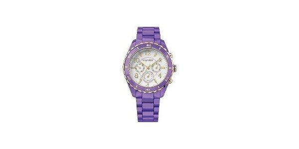 Dámské fialové hodinky Tommy Hilfiger s plastovým páskem