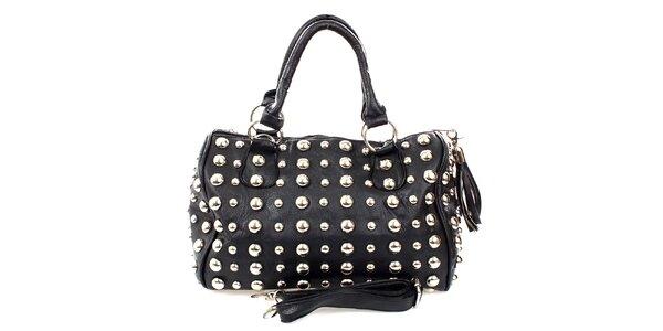 Dámská černá malá kabelka s cvočky London Fashion