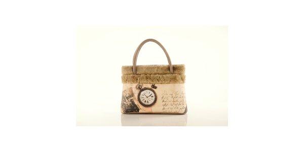 Dámská béžová kabelka Elite Goby s hodinkami