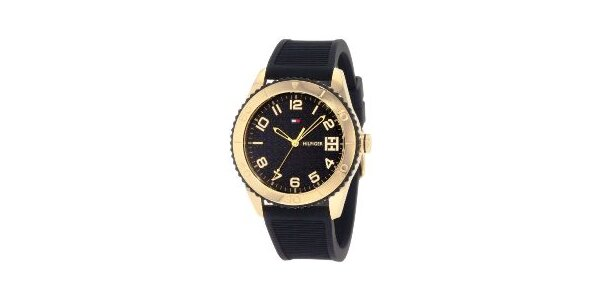 Dámské zlato-černé náramkové hodinky Tommy Hilfiger