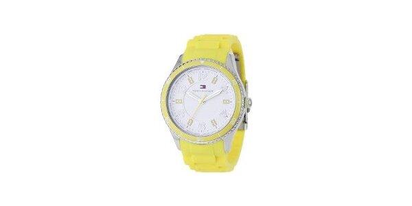 Dámské žluté hodinky Tommy Hilfiger s pryžovým řemínkem