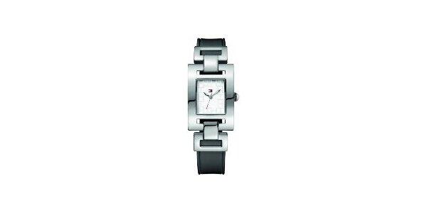 Dámské ocelové hodinky Tommy Hilfiger s černým koženým řemínkem