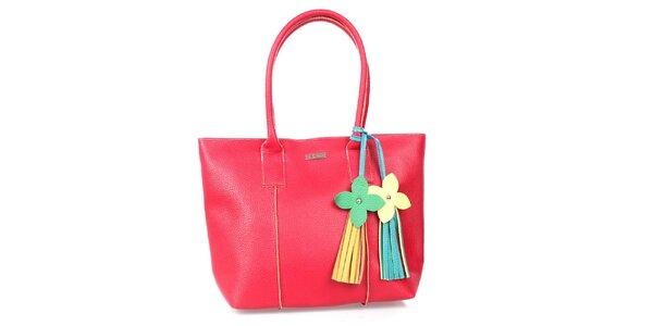 Dámská červené kabelka s kytičkovou visačkou Maku Barcelona