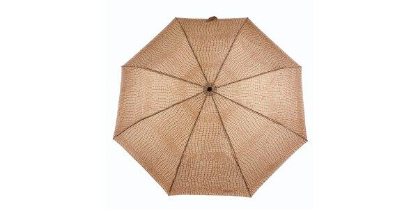 Dámský karamelovo-hnědý deštník s krokodýlím vzorem Ferré Milano