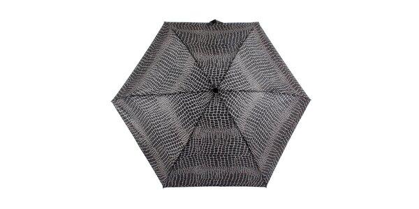 Dámský šedo-černý deštník s potiskem Ferré Milano