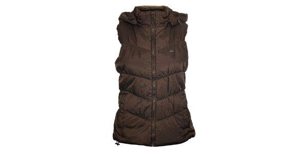 Dámská tmavě hnědá prošívaná vesta Timeout s kapucí