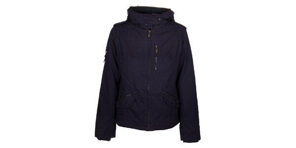 Dámská tmavě fialová bunda Timeout s kožíškem a kapucí