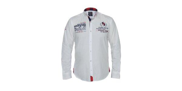 Pánská bílá košile s výšivkami Giorgie Di Mare