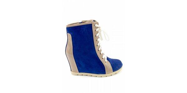 Dámské modré kotníčkové boty Ellemoda s béžovými detaily