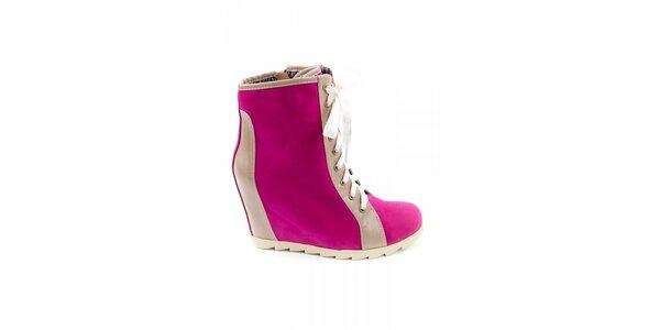 Dámské fuchsiové kotníčkové boty Ellemoda s béžovými detaily