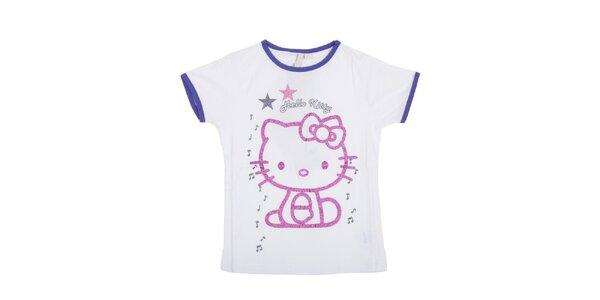 Dětské bílé tričko Hello Kitty s růžovým potiskem