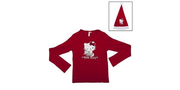 Dětský vánoční set Hello Kitty - červené tričko a Santa čepice