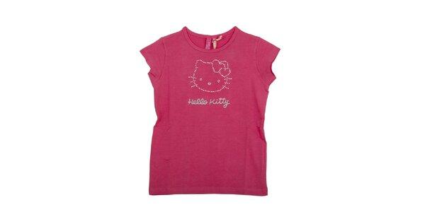 Dětské malinově růžové tričko Hello Kitty s kamínky