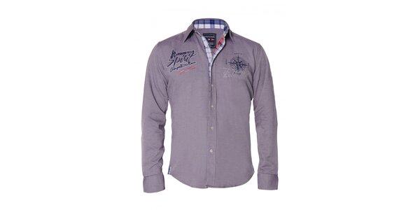Pánská fialová košile s nášivkami Giorgio di Mare 9b4dac150a