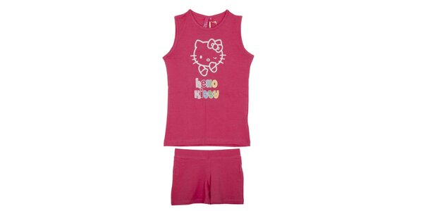 Dětský malinově růžový set Hello Kitty - tílko a kraťasy