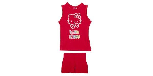 Dětský červený set Hello Kitty - tílko a kraťasy