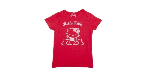 Dětské sytě růžové tričko Hello Kitty s bílým potiskem