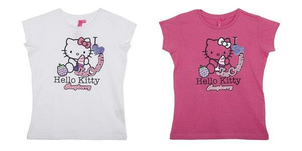 Balení dvou dětských triček Hello Kitty - bílé a růžové