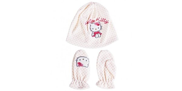 Dětský bílý zimní set Hello Kitty - čepice a rukavice