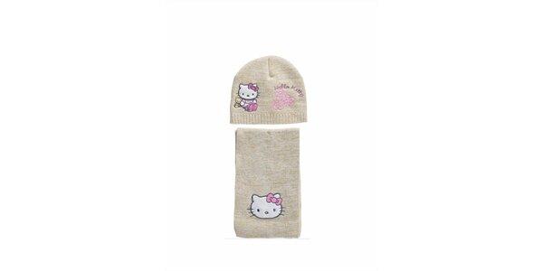 Dětský béžový zimní set Hello Kitty - čepice a šála
