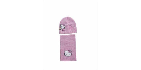 Dětský světle růžový zimní set Hello Kitty - čepice a šála