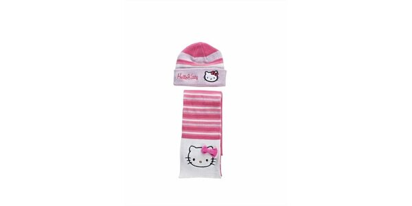 Dětský sytě růžový zimní set Hello Kitty - čepice a šála