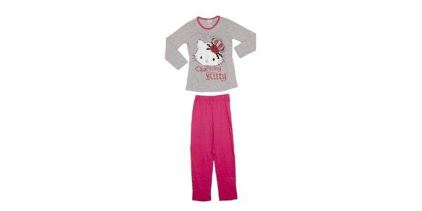 Dětské šedo-růžové pyžamo Hello Kitty