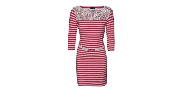 Dámské červeno-bíle pruhované šaty s krajkou Giorgio di Mare