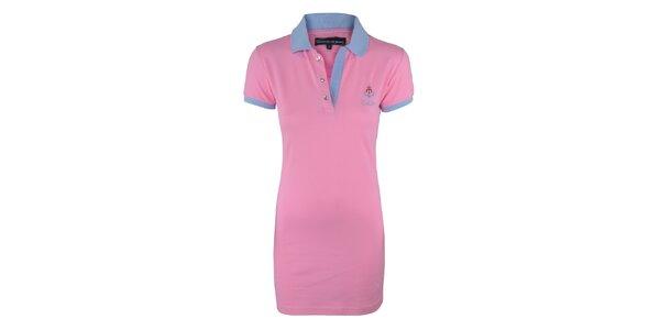 Dámské růžové šaty s modrým límečkem Giorgio di Mare