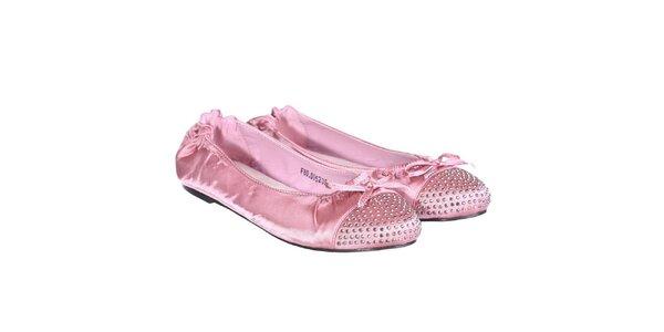 Dámské saténové balerínky v růžové barvě Miss Roberta
