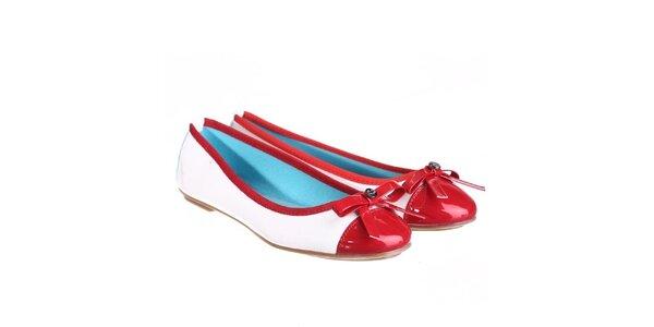 Dámské bílé balerínky s červenou lesklou špičkou Miss Roberta