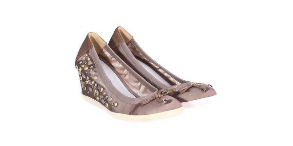 Dámské světle hnědé boty s kamínky Miss Roberta